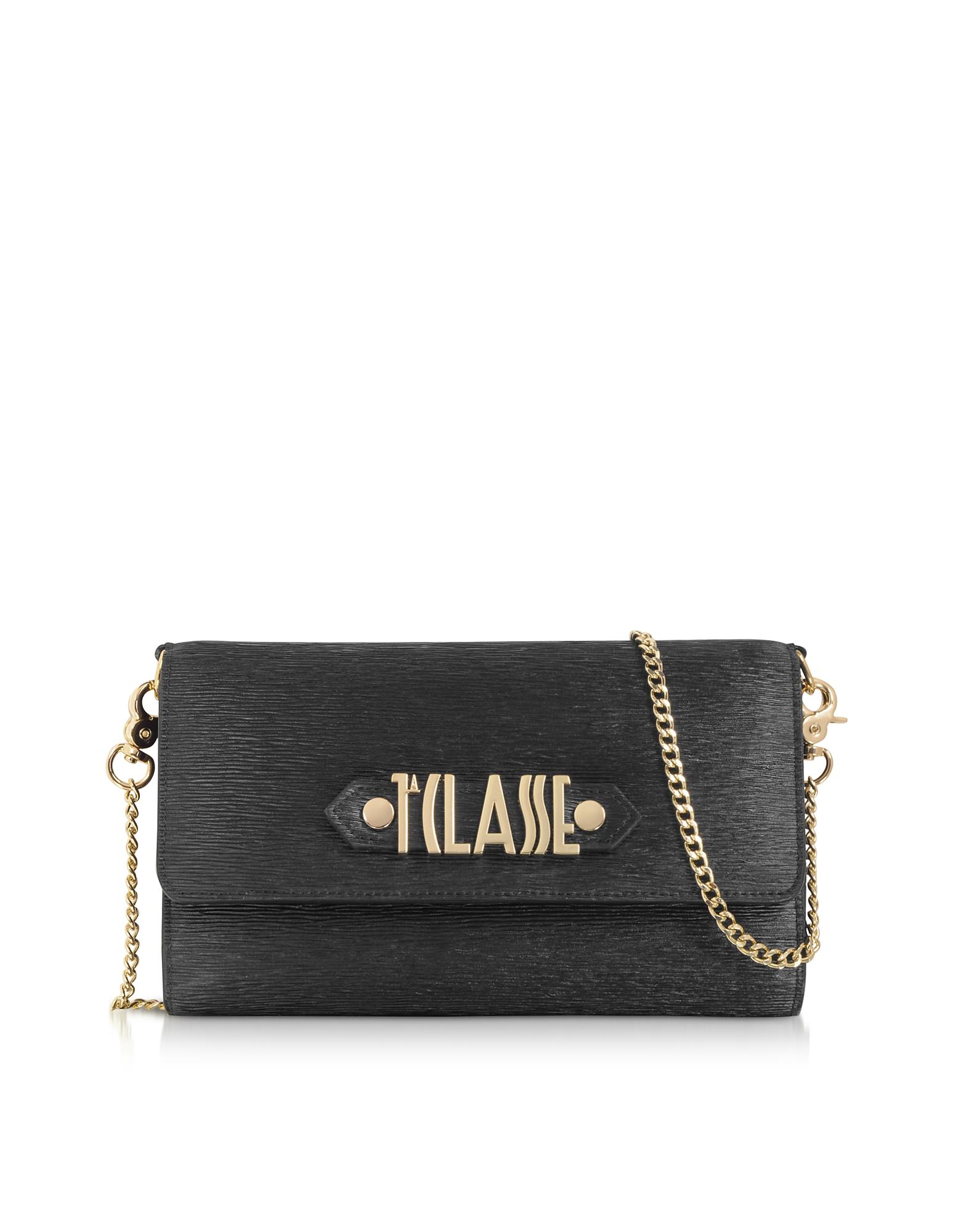 Alviero Martini 1A Classe Designer Handbags, Black Wallet Clutch w/ Signature
