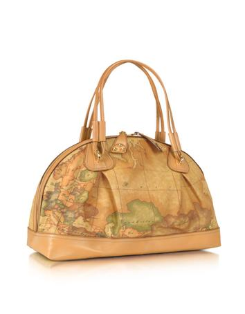 Alviero Martini 1A Classe Geo Africa - Large Geo-Print Printed Leather Satchel Bag