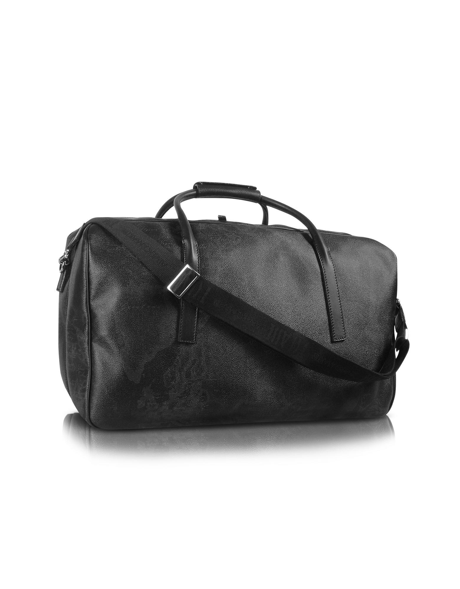 b5cabf537aec9a 1a Prima Classe - Reisetasche mit doppeltem Reißverschlussfach mit  Geomuster in schwarz