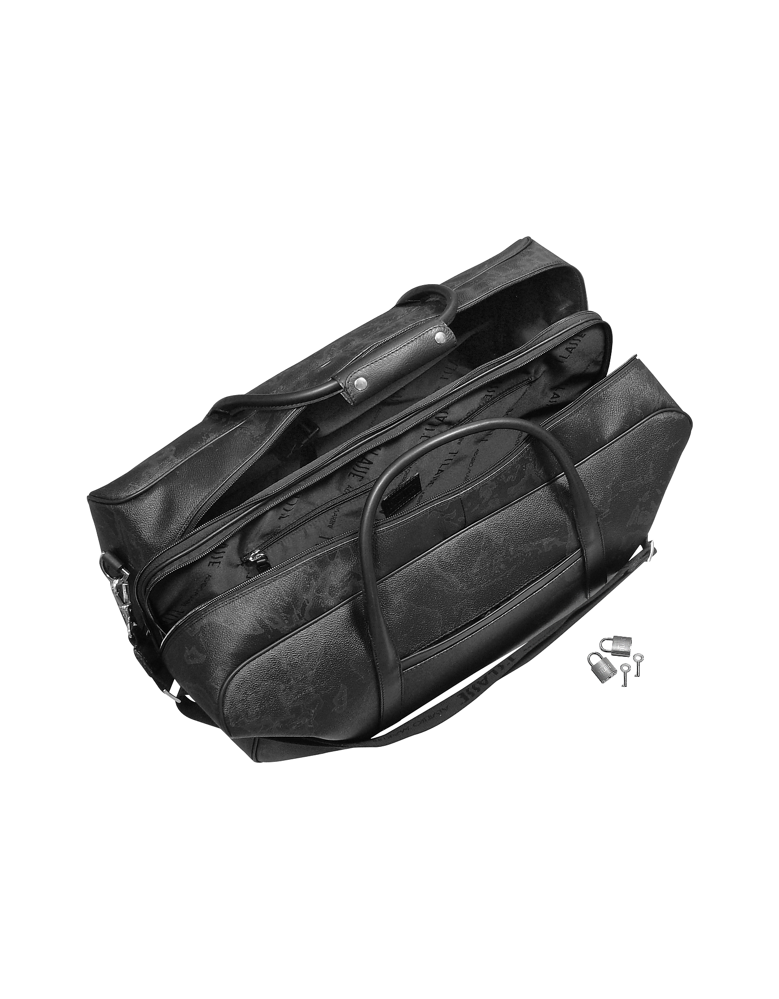 1a Prima Classe - Geo Black Double Compartment Zip Travel Bag от Forzieri.com INT
