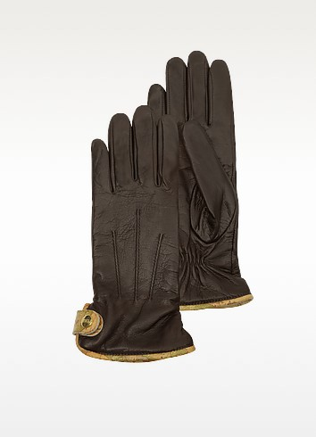 Women's Brown Leather Gloves - Alviero Martini 1A Classe