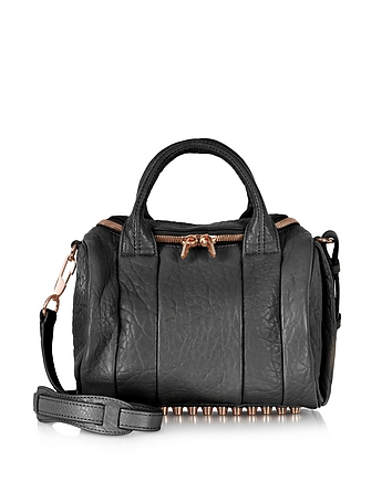 Rockie Black Pebbled Leather Satchel w/Rose Gold Studs