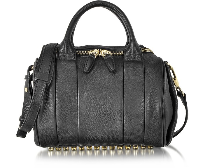 Rockie Black Pebbled Leather Satchel w/Pale Gold Studs - Alexander Wang