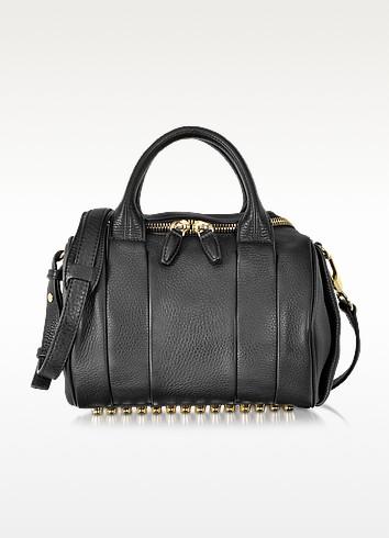 Rockie Black Pebbled Leather Satchel w/Pale Gold Studs - Alexander Wang