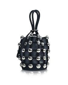 Black Kid Suede Roxy Mini Bucket Bag w/Studs - Alexander Wang