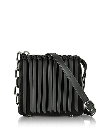 Black Leather Attica Flap Crossbody Bag w/Fringe