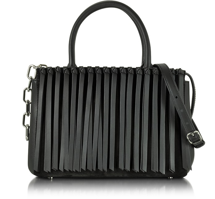 Black Leather Attica Flap Top Handle Bag w/Fringe - Alexander Wang