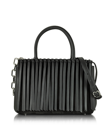 Black Leather Attica Flap Top Handle Bag w/Fringe