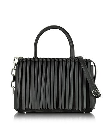 Alexander Wang - Black Leather Attica Flap Top Handle Bag w/Fringe