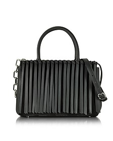 Black Leather Attica Flap Top Handle Bag w/Fringe - Alexander Wang