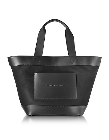 Black Canvas Tote Bag w/Leather Pocket