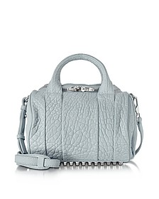 Rockie Powder Blue Pebbled Leather Satchel w/Studs - Alexander Wang