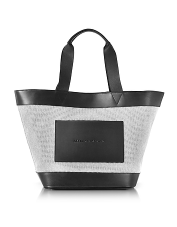 alexander wang female black and white canvas tote bag wleather pocket