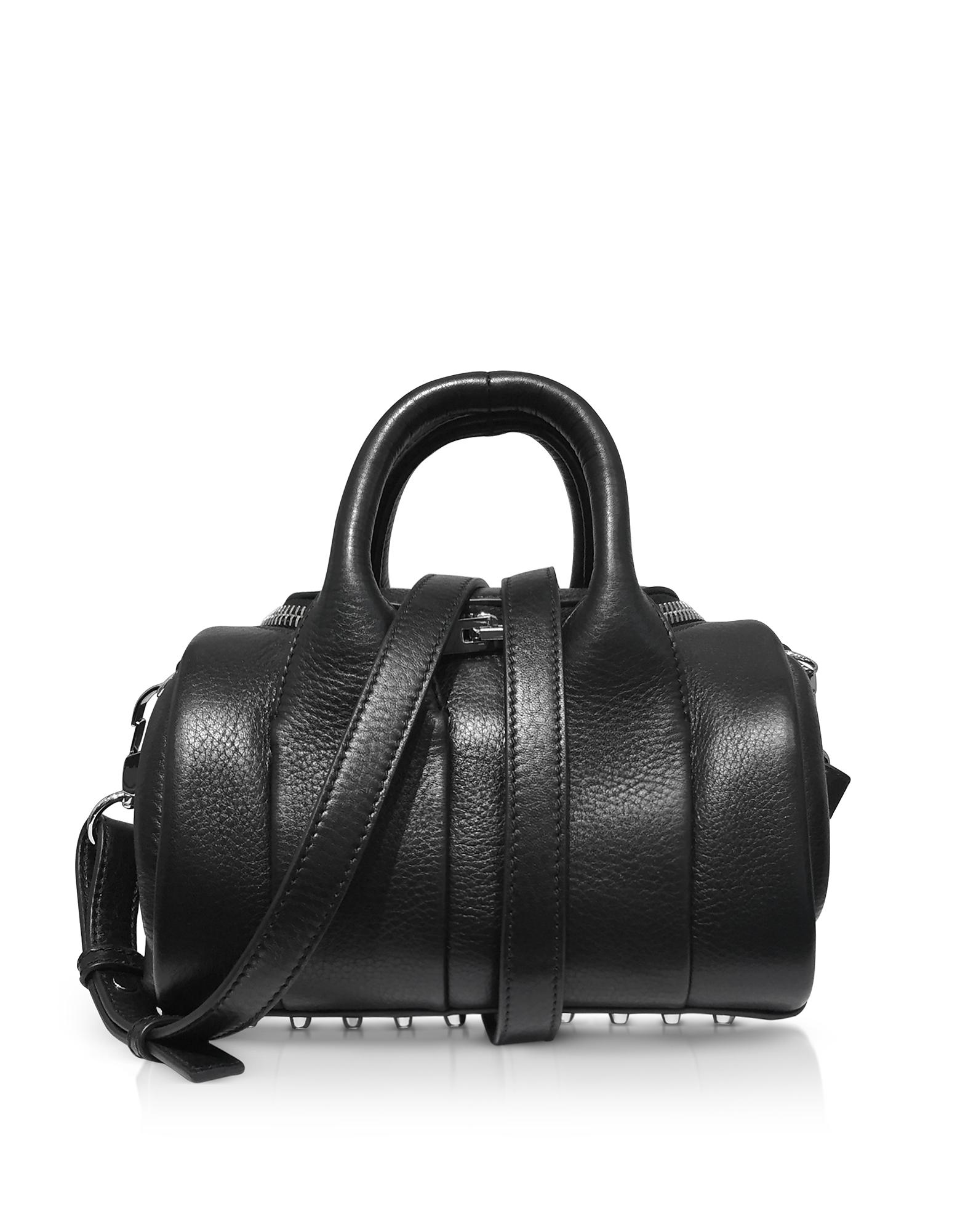 Alexander Wang Handbags, Mini Rockie Black Pebbled Leather Satchel Bag