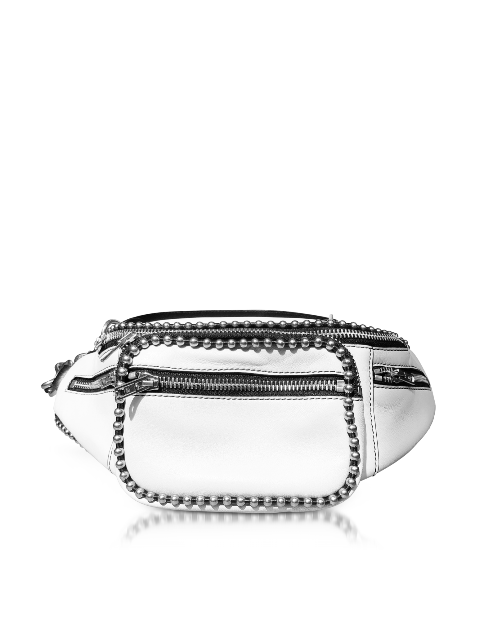 Image of Attica White Leather Fanny Pack/Belt Bag