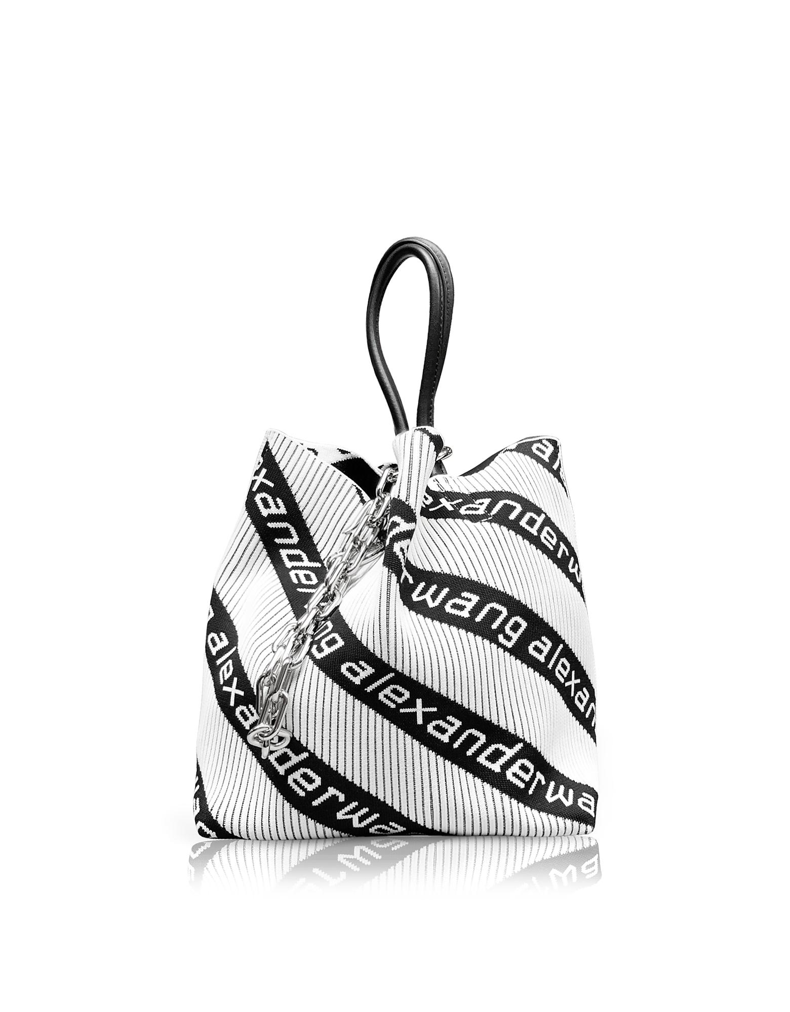 Kint Jacquard Logo Soft Striped Canvas Small Tote Bag in Black/White