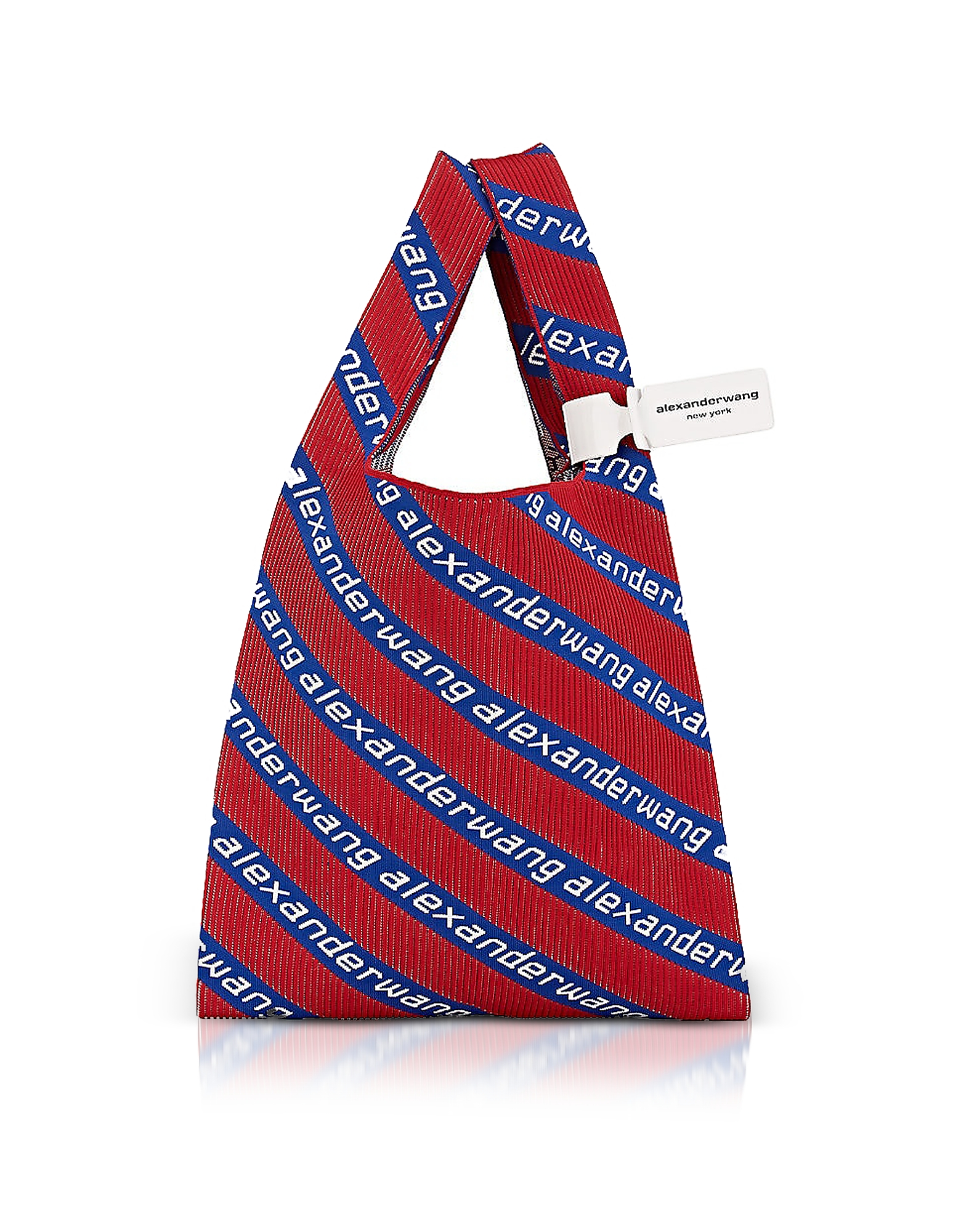 Kint Jacquard Logo Soft Striped Canvas Shopper in Red
