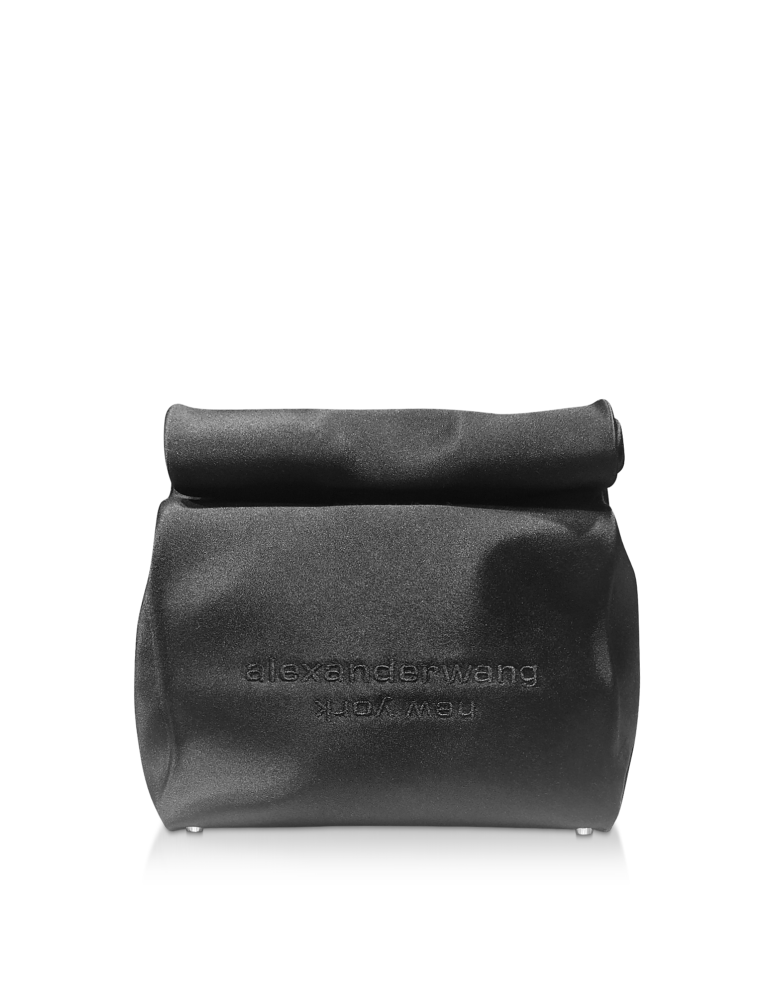 Black Satin Lunch Bag Clutch w/Embroidered Logo