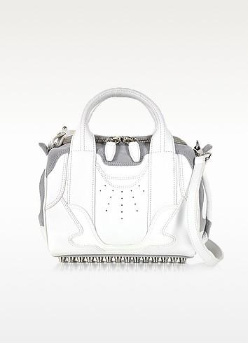 Sneaker Rockie Optic White and Light Concrete Satchel Bag w/Rhodium Studs - Alexander Wang
