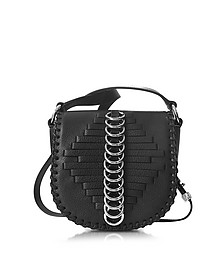 Mini Lia Black Woven Leather  Shoulder Bag w/Rings - Alexander Wang