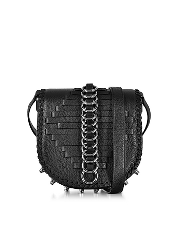 Alexander Wang - Mini Lia Black Woven Leather Shoulder Bag w/Rings