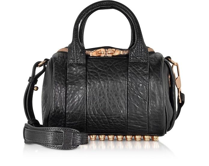 Mini Rockie Black Pebbled Leather Satchel w/Rose Gold Studs - Alexander Wang