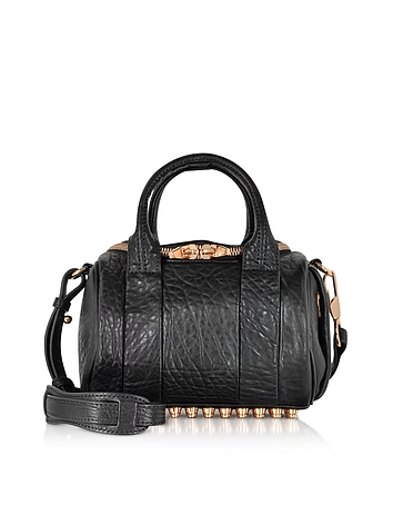 Mini Rockie Black Pebbled Leather Satchel w/Rose Gold Studs