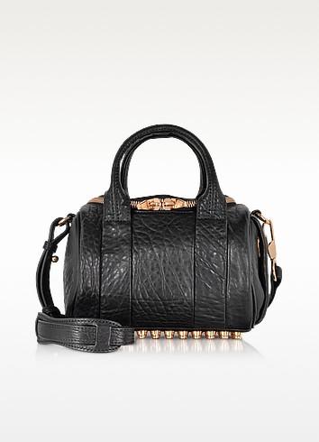 Mini Rockie Black Pebbled Leather Satchel w/Rose Gold Studs - Alexander Wang