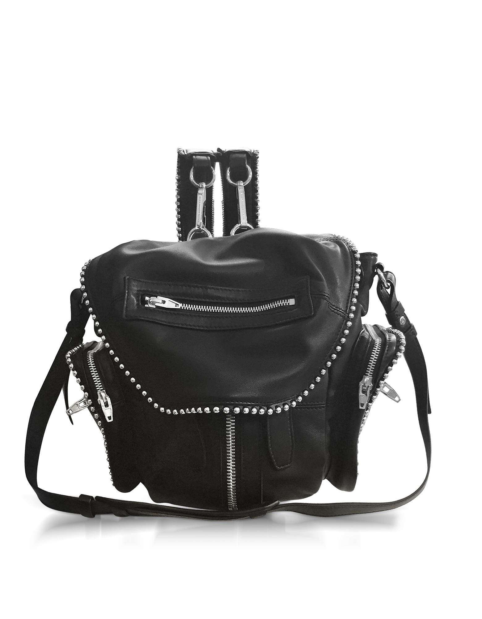 Фото Marti - Маленький Черный Кожаный Рюкзак с Круглыми Заклепками. Купить с доставкой