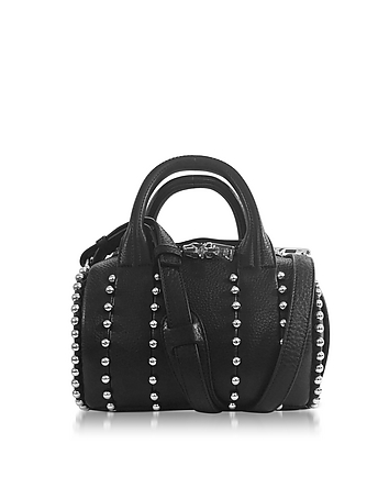 Mini Rockie Ball Studd Black Leather Satchel