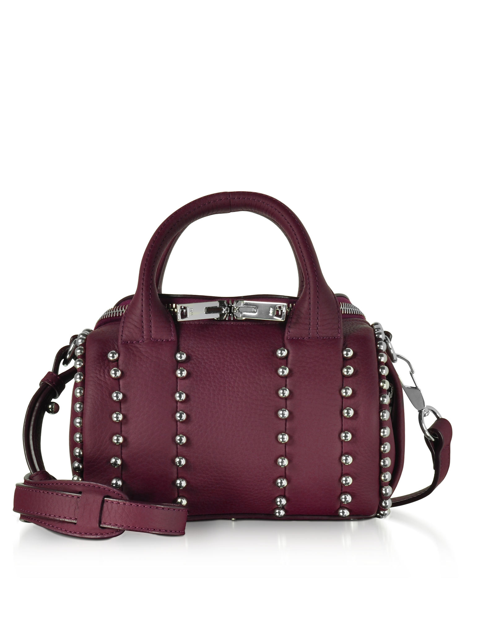Alexander Wang Handbags, Mini Rockie Ball Studd Beet Leather Satchel