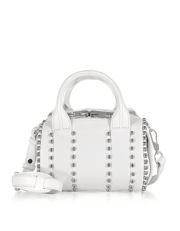 Mini Rockie Ball Studd White Leather Satchel