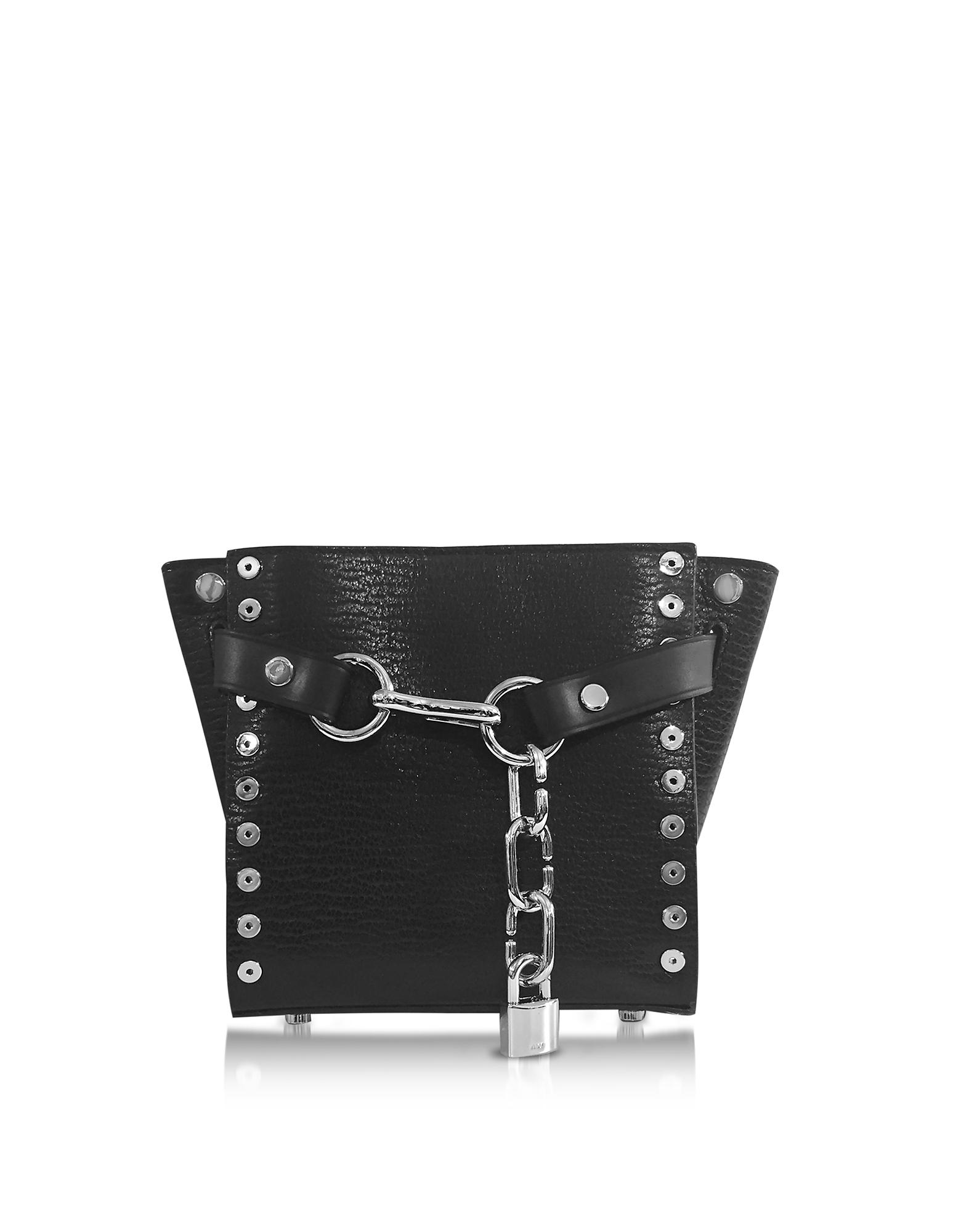 Attica Chain Black Leather Mini Satchel