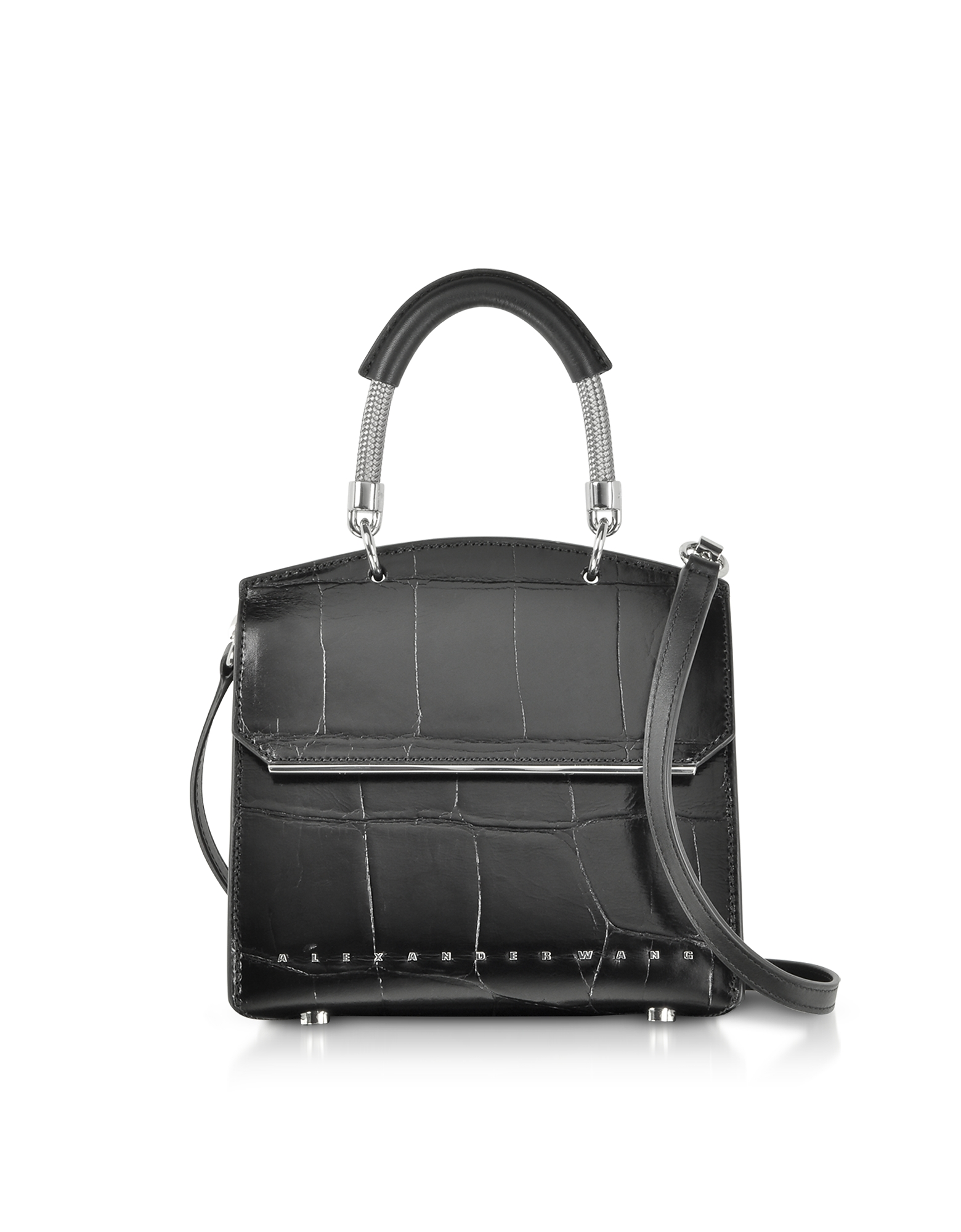 Black Oversized Embossed Croco Leather Dime Mini Flap Satchel