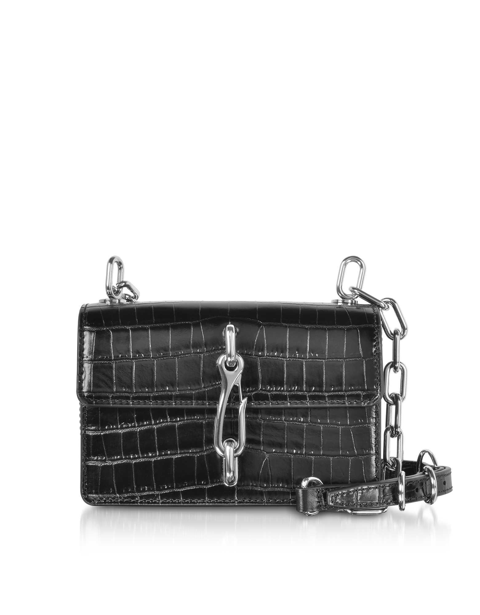 Alexander Wang Handbags, Black Croco Embossed Leather Hook Small Xbody Bag
