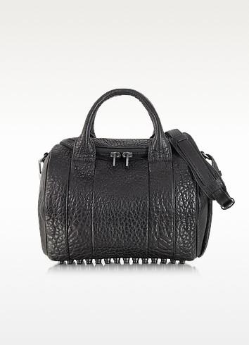 Rockie Black Pebbled Leather Satchel w/Black Nickel Studs - Alexander Wang