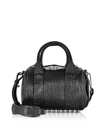 alexander wang female mini rockie black pebbled leather satchel bag