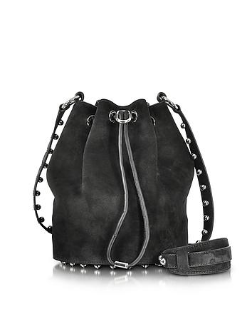 Alfa w/Ball Studs Black Suede Soft Bucket Bag