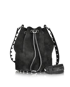 Alfa w/Ball Studs Black Suede Soft Bucket Bag - Alexander Wang