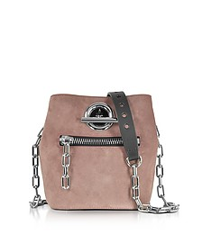 Mauve Suede and Black Pebble Leather Riot Crossbody Bag - Alexander Wang
