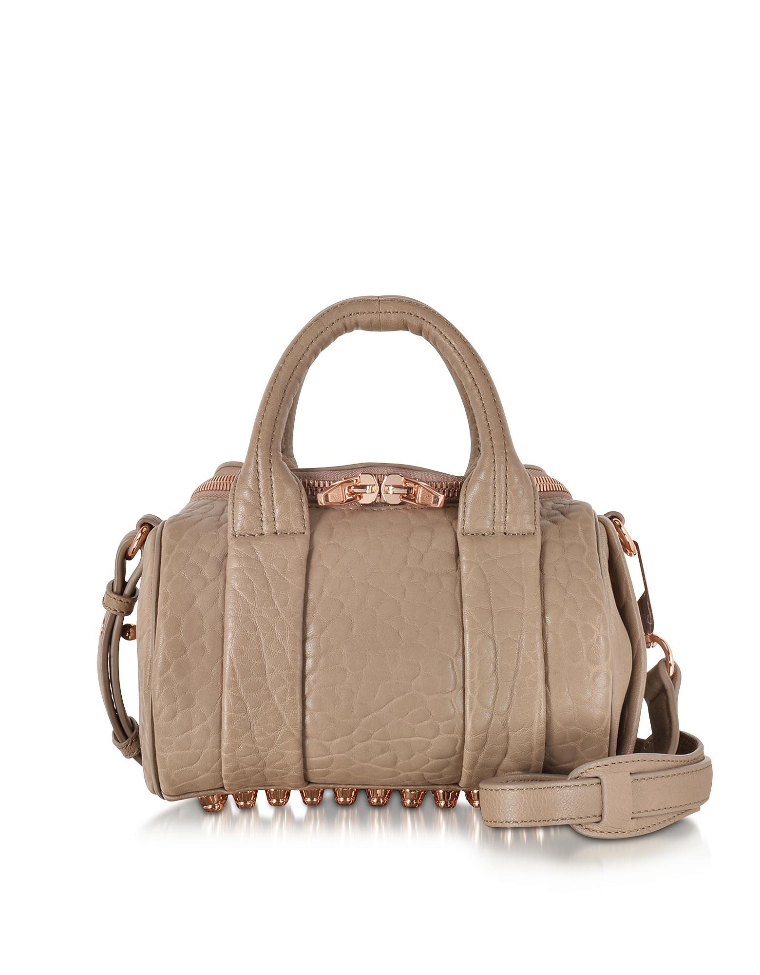 Alexander Wang Handbags, Mini Rockie Latte Pebbled Leather Satchel w/Rose Goldtone Metal