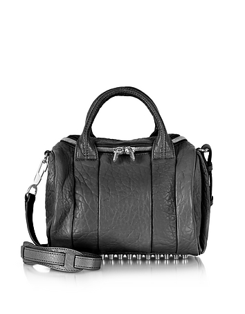 Rockie Black Pebble Leather Satchel Bag w/Rhodium Studs