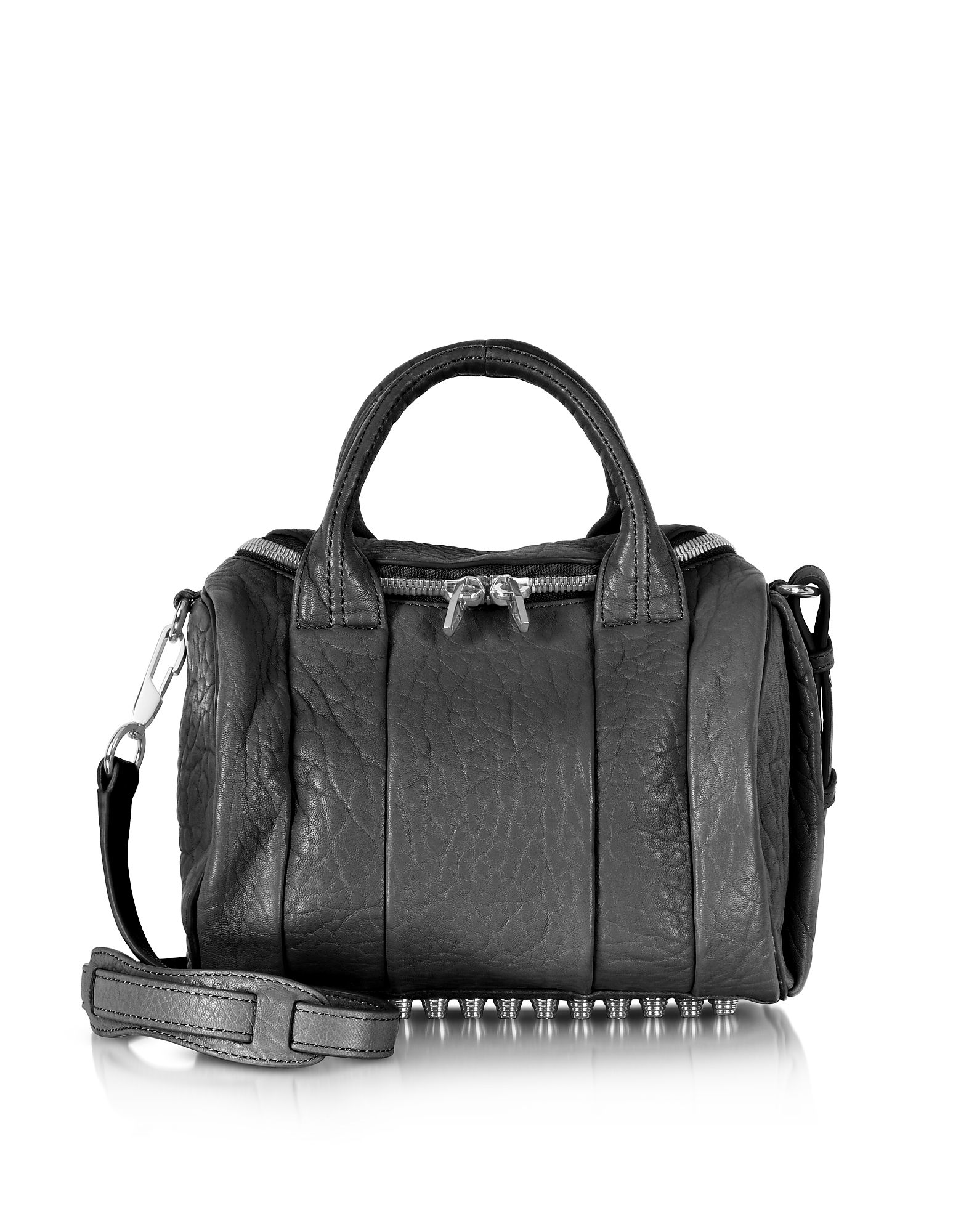 Alexander Wang Handbags, Rockie Black Pebble Leather Satchel Bag w/Rhodium Studs