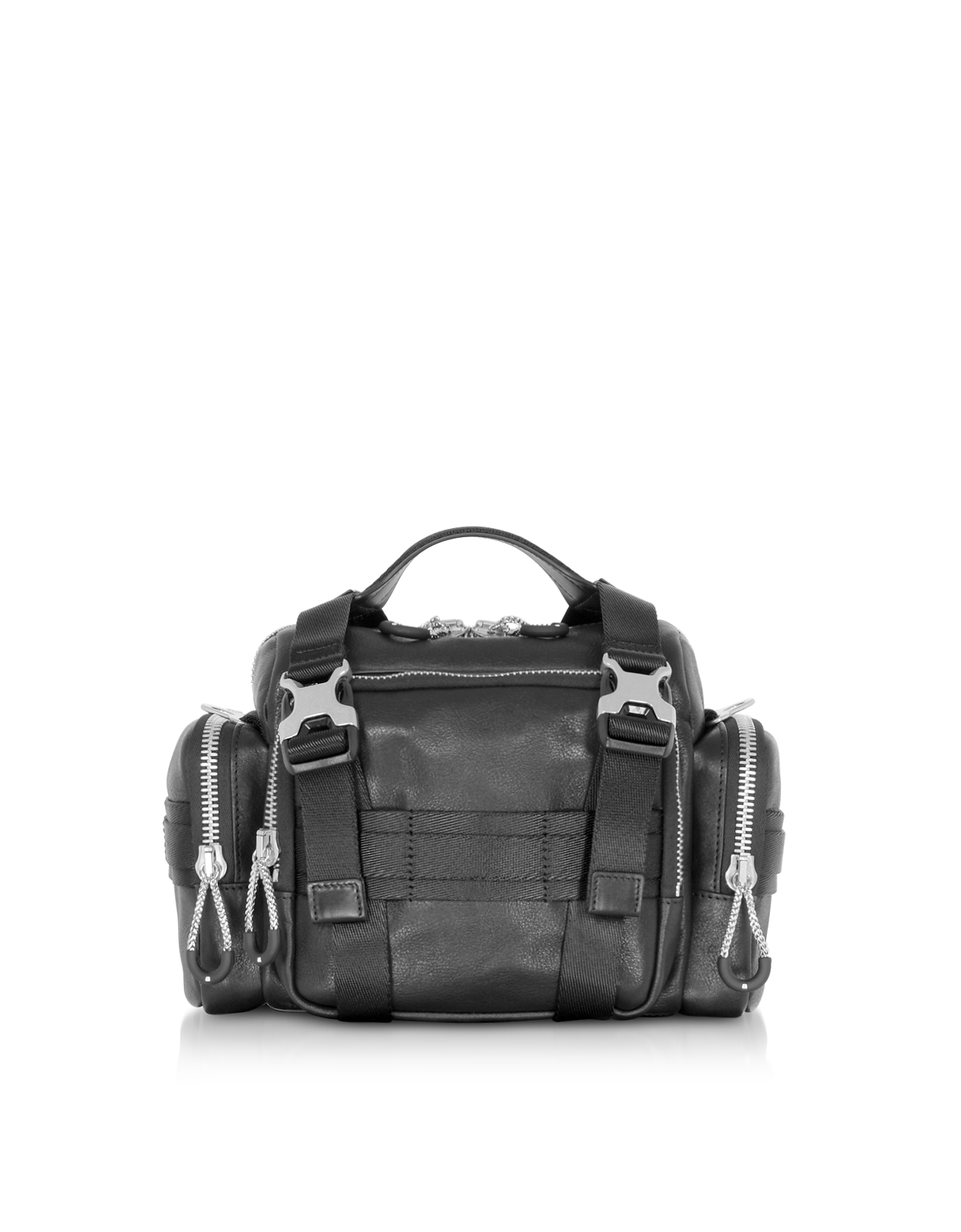 Black Leather Surplus Duffle Bag