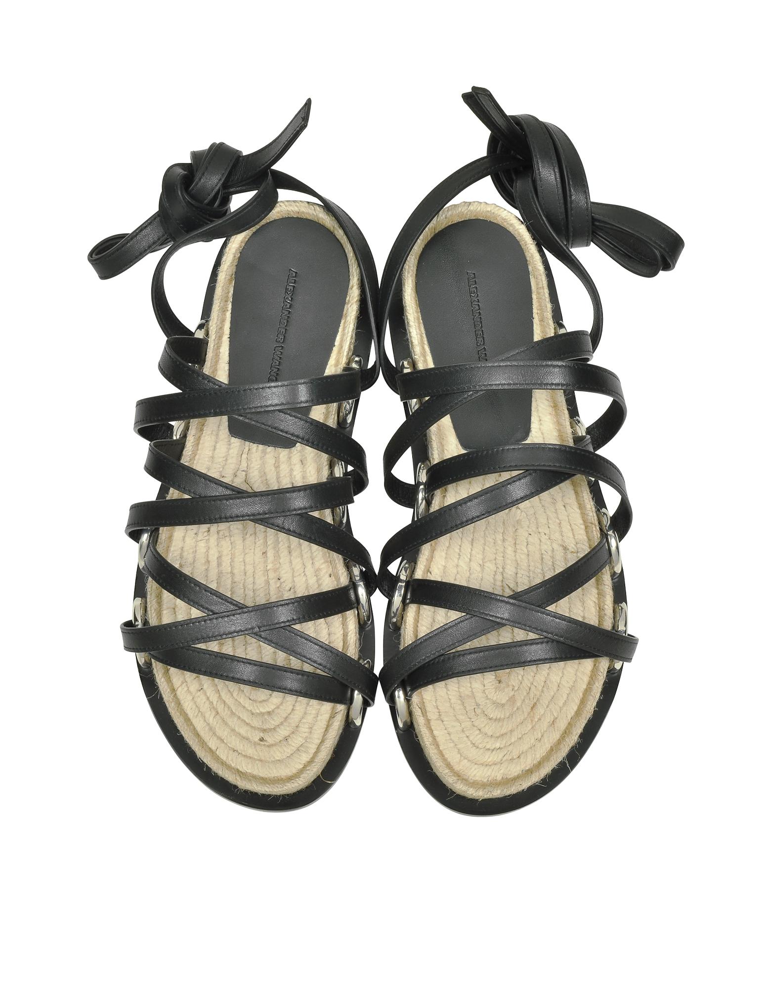 Adriana Black Nappa Flat Sandal от Forzieri.com INT