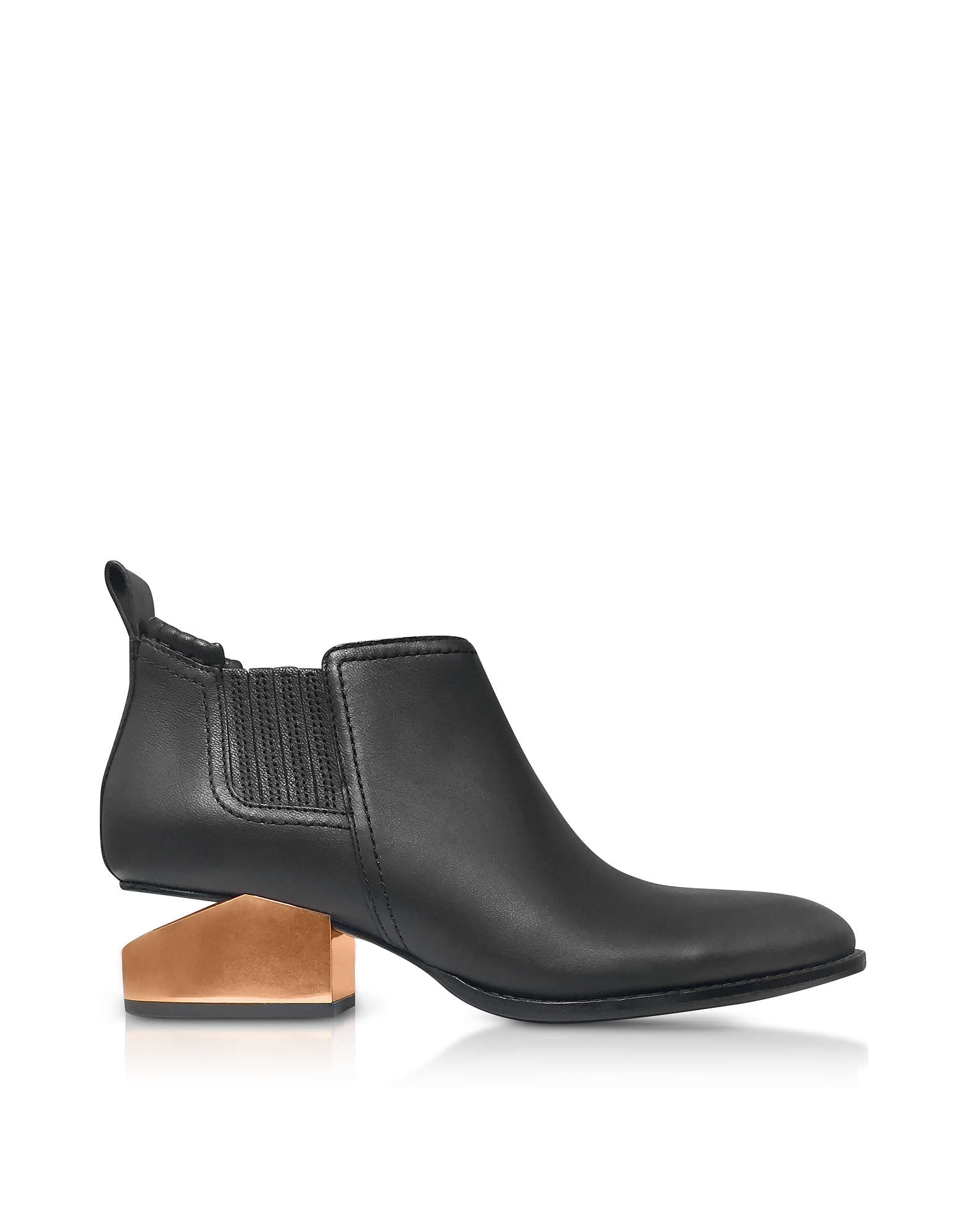 Alexander Wang Shoes, Kori Tumbled Black Leather Anke Boots w/Rosegold Metal Heel