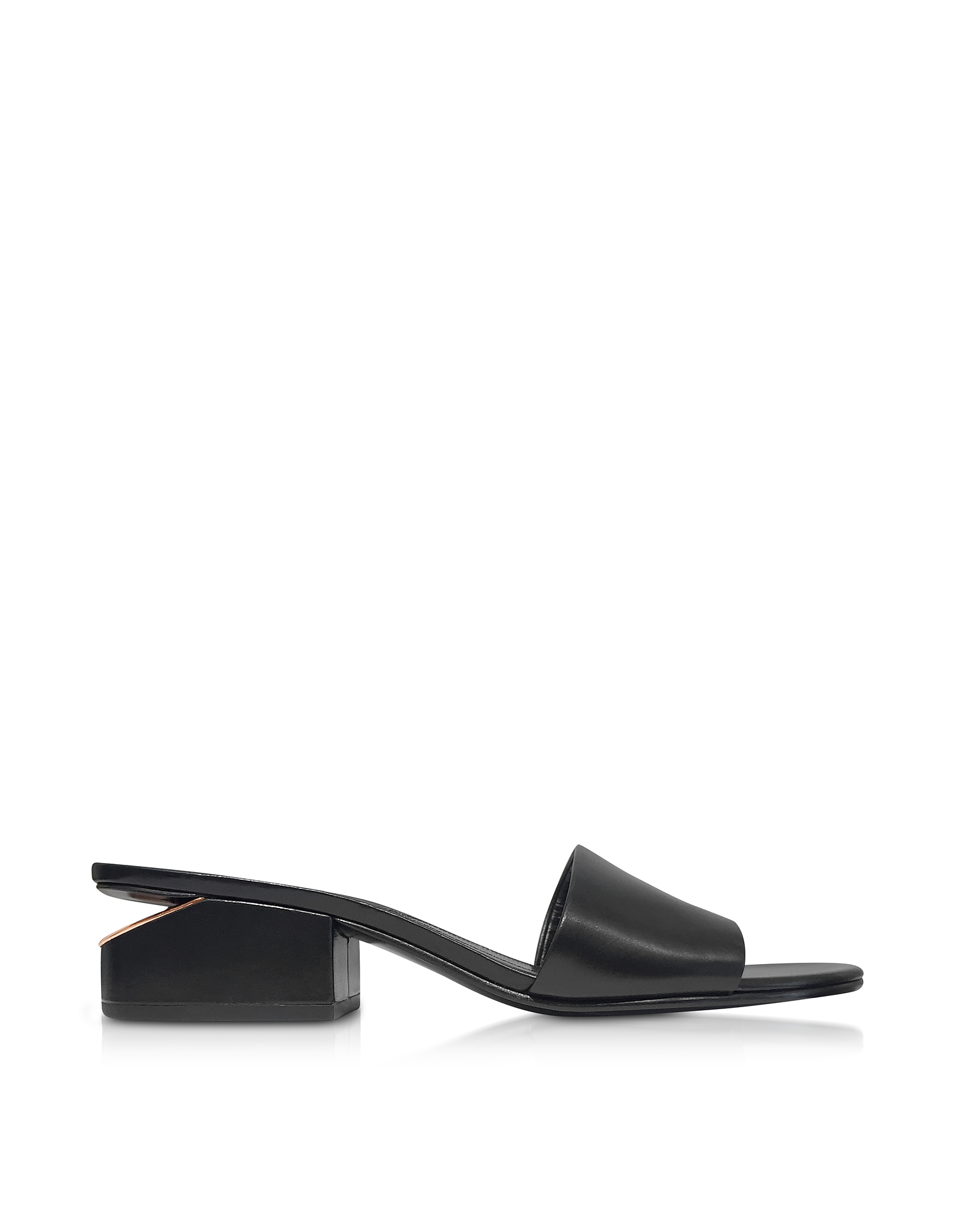 Alexander Wang Shoes, Lou Black Leather Slide Sandals w/Rose Gold Heel