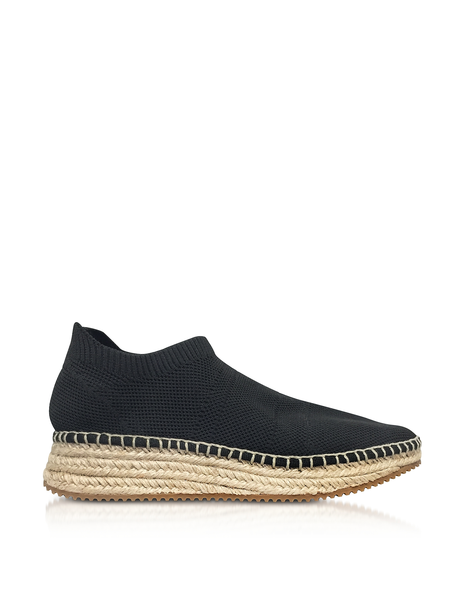 Alexander Wang Shoes, Dylan Black Knit Low Top Sneakers w/Jute Sole