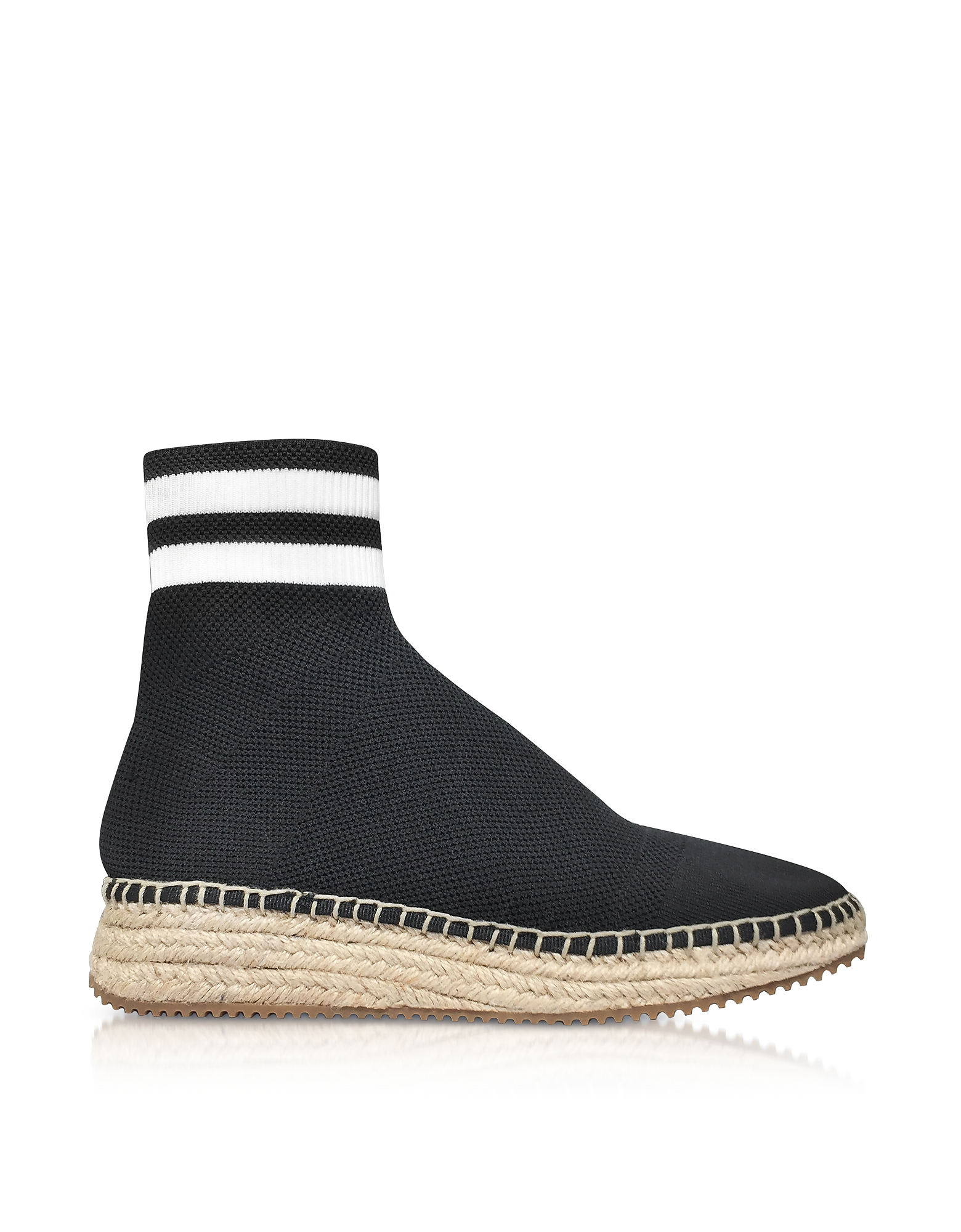 Alexander Wang Shoes, Dylan Black and White Knit High Top Sneakers w/Jute Sole