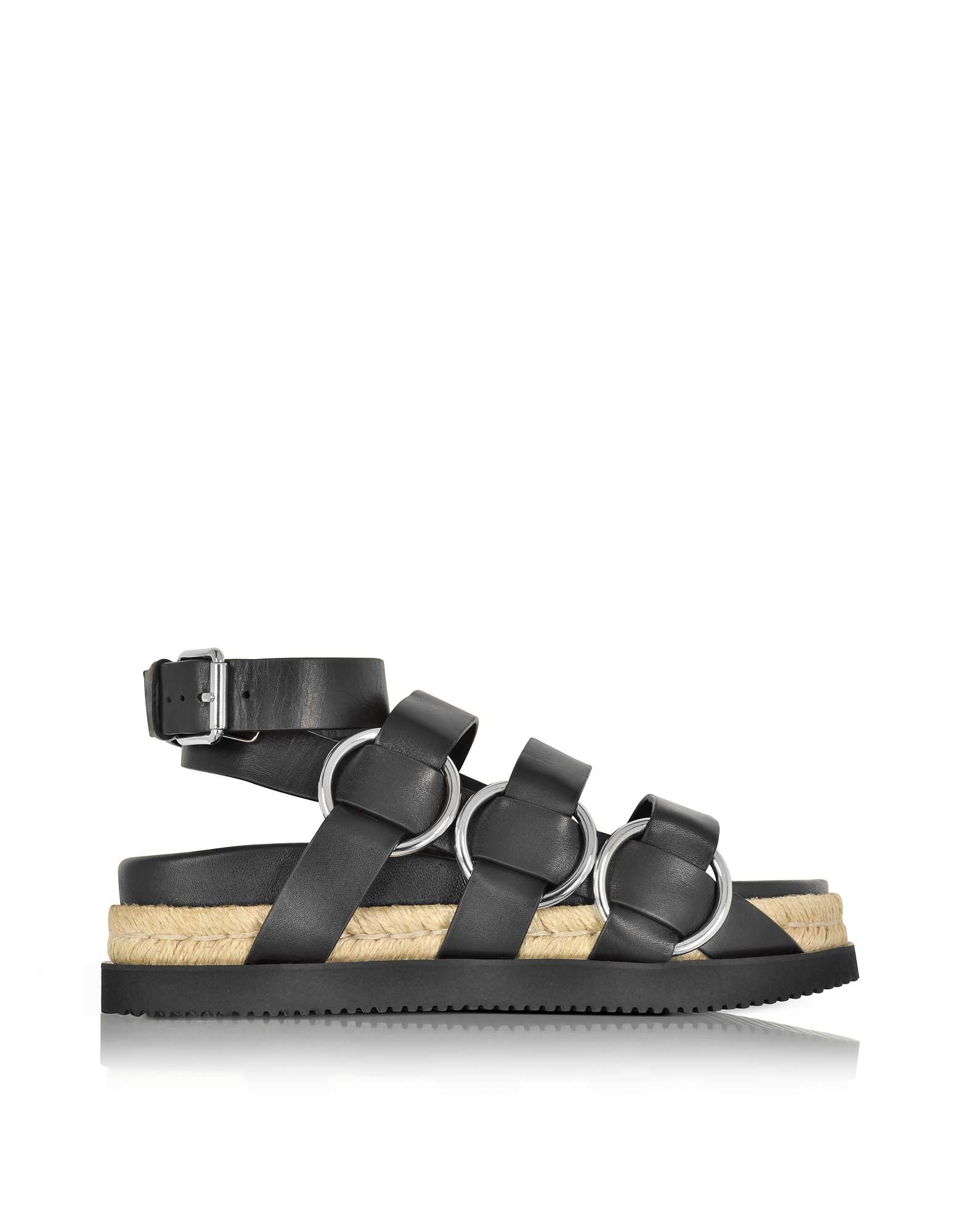 Alexander Wang Shoes, Bess Black Leather Sandal w/Metal Rings